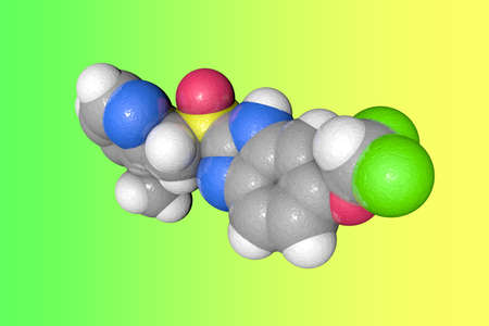 Molecular model of pantoprazole. Atoms are represented as spheres with color coding: carbon (grey), oxygen (red), nitrogen (blue), hydrogen (white), fluorine (green), sulfur (yellow). 3d illustration