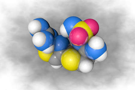Molecular structure of famotidine. Atoms are represented as spheres with conventional color coding: carbon (grey), oxygen (red), nitrogen (blue), hydrogen (white), sulfur (yellow). 3d illustration