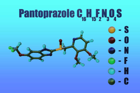 Structural chemical formula and molecular model of pantoprazole, a medication used treat certain stomach and esophagus problems, such as acid reflux. Scientific background. 3d illustration