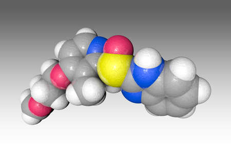 Molecular model of rabeprazole. Atoms are represented as spheres with color coding: carbon (grey), oxygen (red), nitrogen (blue), hydrogen (white), sulfur (yellow). 3d illustration
