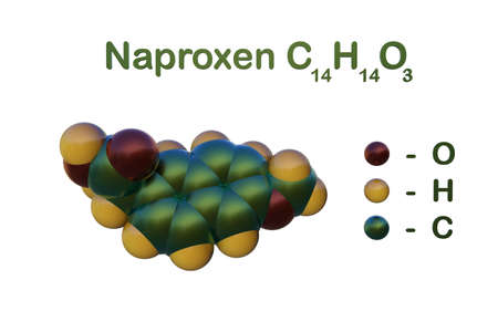 Structural chemical formula and space-filling molecular model of naproxen, a medicine that reduces inflammation and pain in joints and muscles. Scientific background. 3d illustration Imagens