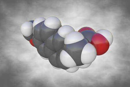 Molecular structure of naproxen. Atoms are represented as spheres with color coding: carbon (grey), oxygen (red), hydrogen (white). Scientific background. 3d illustration