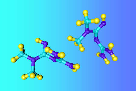 Molecular model of metformin, an anti-hyperglycemic agent of the biguanide class, used for the management of type 2 diabetes. Scientific background. 3d illustration Imagens