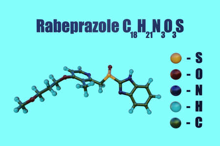 Structural chemical formula and molecular model of rabeprazole, a medication used to treat certain stomach and esophagus problem such as acid reflux, ulcers. Scientific background. 3d illustration