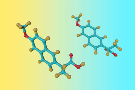Molecular structure of naproxen used to treat pain or inflammation caused by arthritis, ankylosing spondylitis, tendinitis and gout. Scientific background. 3d illustration Imagens