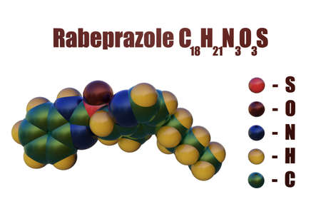 Structural chemical formula and space-filling molecular model of rabeprazole, a medication used to treat certain stomach and esophagus problem such as acid reflux and ulcers. 3d illustration Imagens