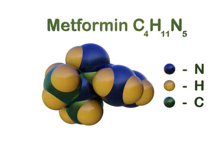 Structural chemical formula and space-filling molecular model of metformin, the first drug of choice for the management of type 2 diabetes. Scientific background. 3d illustration