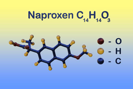 Structural chemical formula and molecular model of naproxen used to treat pain or inflammation caused by arthritis, ankylosing spondylitis, tendinitis and gout. Scientific background. 3d illustration Imagens