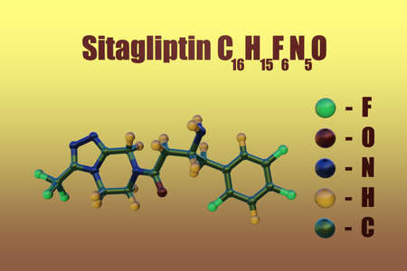 Structural chemical formula and molecular model of sitagliptin, a prescription anti-diabetic drug used to treat high blood sugar levels caused by type 2 diabetes. 3d illustration Reklamní fotografie