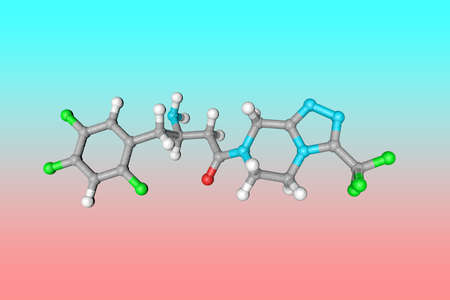 Molecular model of sitagliptin. Atoms are represented as spheres with color coding: carbon (grey), oxygen (red), nitrogen (blue), hydrogen (white), fluorine (green). 3d illustration
