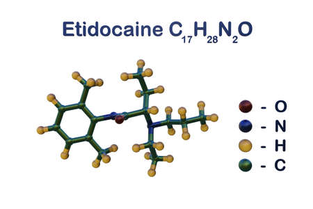 Structural chemical formula and molecular model of etidocaine, a local anaesthetic given by injection during surgical procedures, labor and delivery. Scientific background. 3d illustration