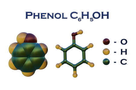 Structural chemical formula and molecular model of phenol, an aromatic organic compound that consist of benzene bearing a single hydroxyl substituent. Scientific background. 3d illustration