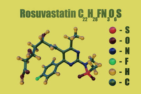 Structural chemical formula and molecular model of rosuvastatin, a statin drug that is used to help lower bad cholesterol and fats and raise good cholesterol. Scientific background. 3d illustration