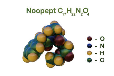 Structural chemical formula and space-filling molecular model of noopept isolated on white background. It is a cognitive-enhancing drug that has a similar effect to piracetam. 3d illustration Imagens