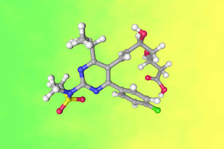 Rosuvastatin molecule. Atoms are represented as spheres with color coding: carbon (grey), oxygen (red), nitrogen (blue), hydrogen (white), sulfur (yellow), fluorine (green). 3d illustration