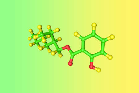 Molecular structure of octisalate or octyl salicylate, an organic compound used as an ingredient in sunscreens and cosmetics to absorb UVB rays from the sun. Scientific background. 3d illustration