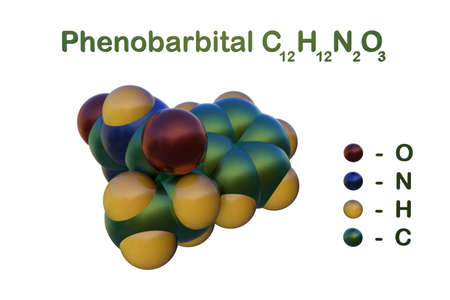 Structural chemical formula and space-filling molecular model of phenobarbital, a medication of the barbiturate type used for the treatment of epilepsy and seizures in young children. 3d illustration