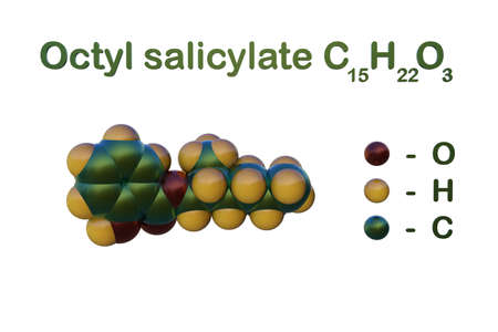 Structural chemical formula and space-filling molecular model of octyl salicylate or octisalate, an oil soluble chemical sunscreen agent that absorb UVB radiation. 3d illustration