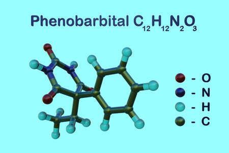 Structural chemical formula and molecular model of phenobarbital, a drug of the barbiturate type used to treat epilepsy and seizures in young children. Scientific background. 3d illustration