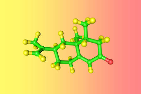 Molecular model of nootkatone, a natural organic compound with a grapefruit-like flavor that used in fragrance, food, cosmetics and pharmaceutical industry. Scientific background. 3d illustration