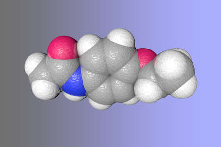 Space-filling molecular model of phenacetin. Atoms are represented as spheres with color coding: carbon (grey), nitrogen (blue), oxygen (red), hydrogen (white). Scientific background. 3d illustration