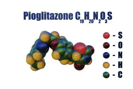 Structural chemical formula and space-filling molecular model of pioglitazone, a diabetes drug used to control high blood sugar in patients with type 2 diabetes. Scientific background. 3d illustration
