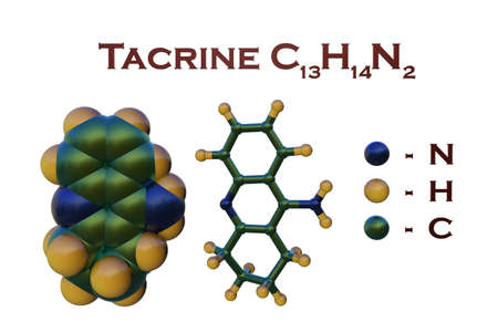 Structural chemical formula and molecular model of tacrine, an oral medication used to treat patients with Alzheimers disease. Scientific background. 3d illustration