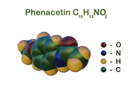 Structural chemical formula and space-filling molecular model of phenacetin, an analgesic and fever-reducing drug in both human and veterinary medicine. Scientific background. 3d illustration Imagens