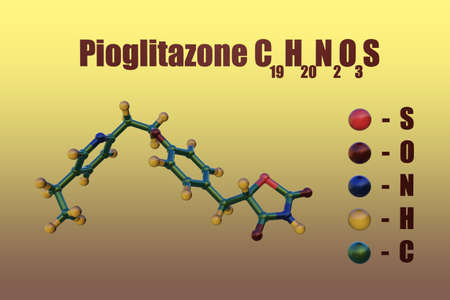Structural chemical formula and molecular model of pioglitazone, a diabetes medication used to control high blood sugar in patients with type 2 diabetes. Scientific background. 3d illustration