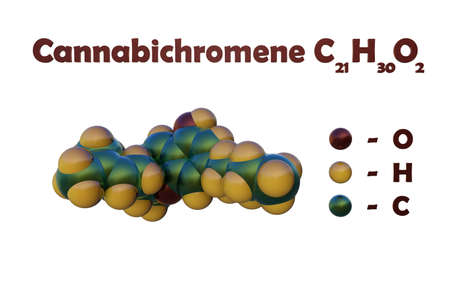 Structural chemical formula and space-filling molecular model of cannabichromene, a non-psychoactive cannabinoid that exerts anti-inflammatory, antimicrobial and analgesic activity. 3d illustration Imagens