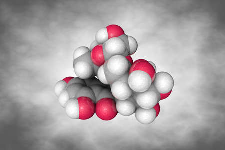 Molecular structure of rutin or vitamin P. Atoms are represented as spheres with conventional color coding: carbon (grey), oxygen (red), hydrogen (white). Scientific background. 3d illustration