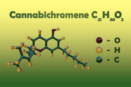 Structural chemical formula and molecular model of cannabichromene, a non-psychoactive cannabinoid that exerts anti-inflammatory and analgesic activity. Scientific background. 3d illustration