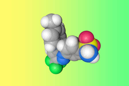 Molecular structure of celecoxib. Atoms are represented as spheres with color coding: carbon (grey), oxygen (red), nitrogen (blue), hydrogen (white), sulfur (yellow), fluorine (green). 3d illustration Imagens