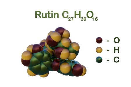 Structural chemical formula and space-filling molecular model of rutin (rutoside, rutinoside), a flavonoid found in some vegetables and fruits that has powerful antioxidant properties. 3d illustration Imagens