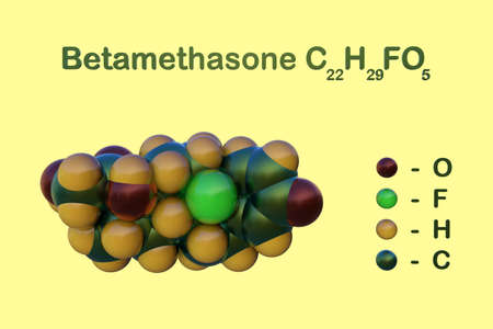 Structural chemical formula and space-filling molecular model of betamethasone, a corticosteroid drug that used to treat a variety of skin conditions such as eczema and dermatitis. 3d illustration Imagens