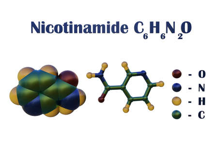 Structural chemical formula and molecular model of nicotinamide (vitamin B3, vitamin PP) found in food and used as a dietary supplement, in medicine and cosmetics. 3d illustration