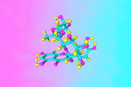 Molecular structure of rutin (rutoside, rutinoside, vitamin p), a bioflavonoid found in certain vegetables and fruits that has powerful antioxidant properties. Scientific background. 3d illustration Imagens