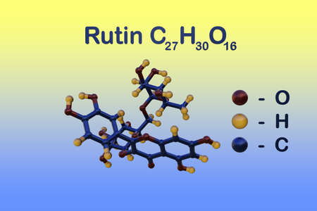 Structural chemical formula and molecular model of rutin or rutoside, a flavonoid found in some vegetables and fruits that has powerful antioxidant properties. Scientific background. 3d illustration