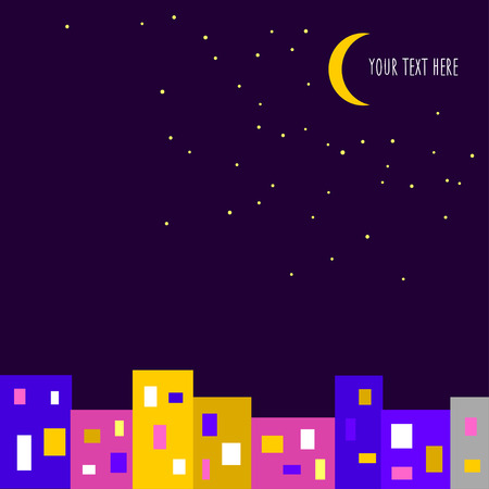 Vector background with night city Vector