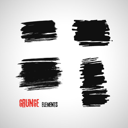 smears: Set of hand drawn grunge brush smears