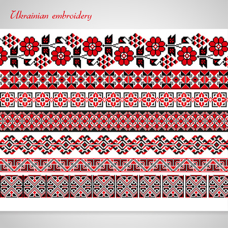 ornamented: Set of seamless ornamented borders based on ukrainian embroidery