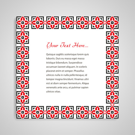 ornamented: Card with ornamented frame based on ukrainian embroidery Illustration