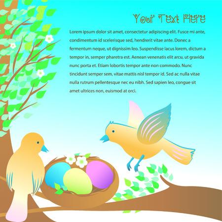 the offspring: Pareja de aves en espera de la ilustraci�n descendencia