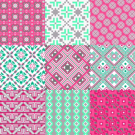 9 retro seamless ornaments Vector
