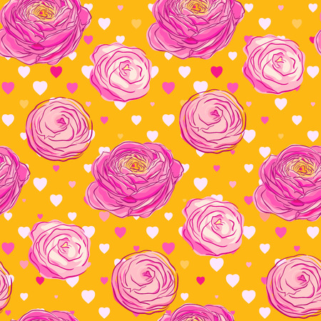 Seamless pattern with blooming flowers