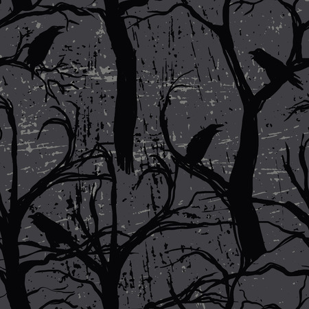 Seamless pattern with ravens Stock Illustratie