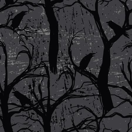 Seamless pattern with ravens Illustration