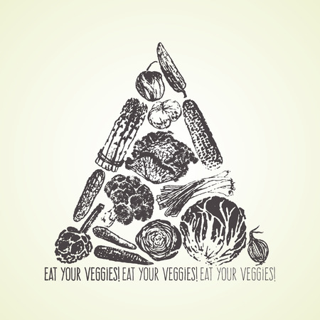 Ink hand drawn vegetables card Vector