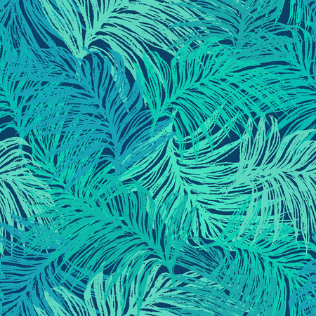 Ink hand drawn jungle leaves seamless pattern Vector