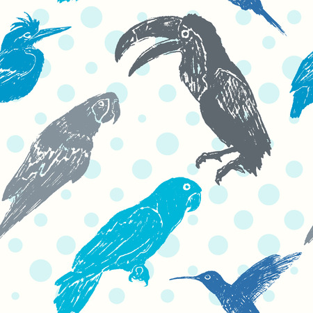 Ink hand drawn birds seamless pattern Vector